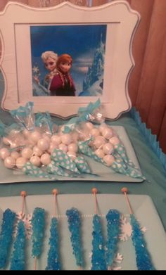 Themed candy at a Frozen girl birthday party!  See more party ideas at CatchMyParty!