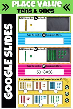 Place Value practice with tens and ones can be fun and interactive with these Google Slides activities! Students will build numbers, type numbers in expanded form, and identify numbers shown correctly. #firstgradelearning #placevalue #secondgradelearning