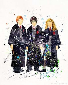 Harry and Hermione and Ron, Harry Potter Watercolor Print. Prices from $9.95. Available at InkistPrints.com - #harrypotter#christmasgift#dormdecor#wallart#giftforhim #giftidea
