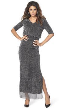 Elegantné dlhé šaty značky Vila z nádherne štruktúrovaného materiálu.