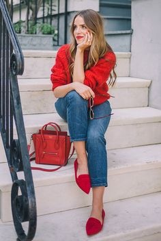 Street style, comfy outfit, fall outfit, spring outfit, casual outfit, holiday outfit, valentine's day outfit, casual holiday outfit, casual valentine's day outfit, romantic outfit - red sweater, crop jeans, red flats, red mini bag.