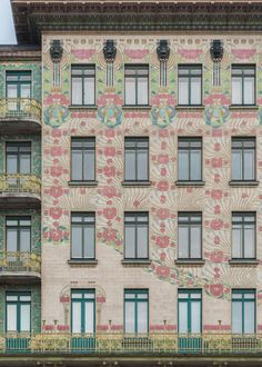 This apartment building in Vienna, known as the Majolikahaus, was designed by Austrian architect Otto Wagner at the turn of the century. Art Nouveau Architecture, Modern Architecture, Otto Wagner, Bauhaus Art, Vienna Secession, Graphic Design Projects, Belle Epoque, Mid-century Modern, Gallery Wall