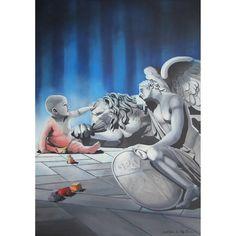GaeTano & Valentina, STATUS, ©2014, acrylic on canvas, 70 x 100 x 4 cm / 27.5 x 39.4 x 1.57 inch  #sculpture #sky #blue #toys #child #angel  #animal #blakeandwhite #environment #lion #SCENOGRAPH2ART #GaeTanoAndValentina #Sem #scenographTwoArt #painting #FineArt #Arte #فن #Kunst #艺术 #AcrylicOnCanvas #искусство #acrylic #アート #pittura #peinture #GaeTanoeValentina #azzurro #Blu #Ceruleo #ScenographTwoArt #BlueReal