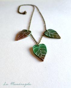 #Green #Leaves #Necklace. #Elf accessories. #Unique hand di Mandragola, €16.00