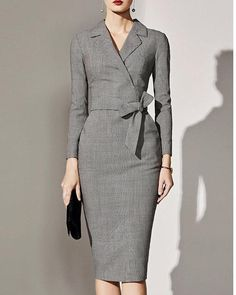 Fold-Over Collar Plaid Bodycon Dress – lovejewelryacc classy dresses dresses casual summer fancy fall dresses fashion summer dresses Sheath Dress, Peplum Dress, Bodycon Dress, Elegant Maxi Dress, Edgy Dress, Dress Formal, Dress Casual, Dress Silhouette, Business Attire