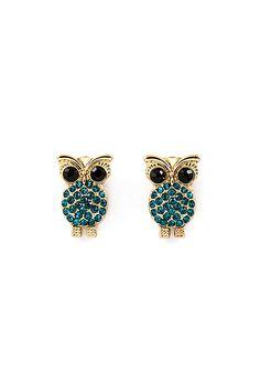 Crystal Owl Earrings on Emma Stine Limited