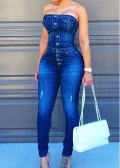Open Back Sleeveless Denim Blue Jumpsuit on sale only US$31.40 now, buy cheap Open Back Sleeveless Denim Blue Jumpsuit at modlily.com