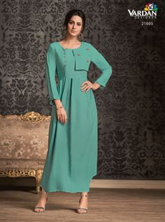 VARDAN D.NO.-21005 RATE : 601 - MIRAAZ VOL-1 BY VARDAN DESIGNER  VARDAN 21001 TO 21008 SERIES  STYLISH COLORFUL FANCY BEAUTIFUL CASUAL WEAR & ETHNIC WEAR HEAVY RAYON LONG KURTIS AT WHOLESALE PRICE AT DSTYLE ICON FASHION CONTACT: +917698955723 - DStyle Icon Fashion
