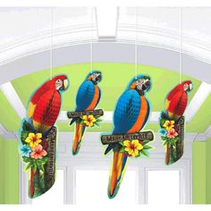 Margaritaville Parrot Honeycomb Decorations (4) - Birthday Direct
