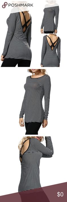 Striped Top with Open Back *Brand New Tops