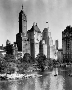 Central Park near East 62nd Street and Fifth Avenue, 1940. It's a beautiful summer day in 1940, and from where you stand in Central Park, you can see two of the most luxurious hotels in the world, the Sherry Netherland and the Plaza. The Plaza is perhaps the better known of the two, but sadly will eventually become a luxurious residence. The Sherry Netherland, however, will remain the pinnacle of New York City luxury for some time to come.