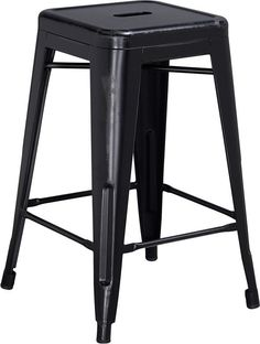 Flash Furniture ET-BT3503-24-BK-GG 24'' High Backless Distressed Black Metal Indoor Counter Height Stool