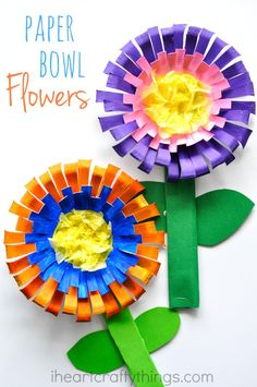 This bright and colorful paper bowl Flower Craft for kids is perfect for a spring kids craft or when learning all about flowers.