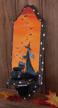 Original Halloween Painting Witch Bats Folk Art Wooden Candle Holder Sconce #Americana