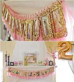 Another favorite was the photo display of the birthday girl that adorned the fireplace mantel. What a great way to show off what the birthday girl had been up to all year, along with having a great decorative element for the party. Source: Sweet Bloom Photography via Pretty My Party