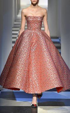 Strapless Floral Tea Length Gown by OSCAR DE LA RENTA for Preorder on Moda Operandi