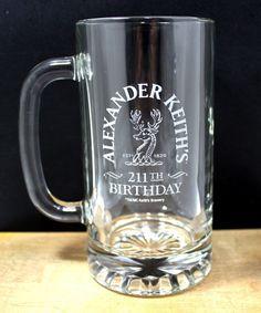 Alexander Keith s 211TH Birthday Anniversary 14fl.Oz. Etched Beer Glass Stein | eBay