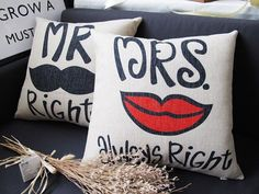 """Handmade Linen  MRS always right / MR right red lip / black Mustache printed wedding present cushion case / decorative pillow cover 18"""""""
