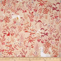Designed by Lizzy House for Andover, this cotton print fabric is perfect for quilting, apparel and home decor accents. Colors include shades of orange, coral. purple, white, red and pink.