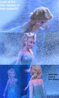 Elsa's hair has so much details! I actually noticed this the first time i watched it