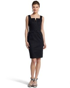 "LACE-UP SHEATH DRESS  STYLE: 570048497  Just Arrived!  Structured faille dress fashioned with a laced placket, tone-on-tone stitching and faux pockets. Crafted from strong, shape-holding fabric. 97% Cotton, 3% Spandex. Machine wash or dry clean. Imported.  Contour fit.  Square neckline. Back zip with hook-and-eye closure. 6"" vent at back.  Fully lined.  Length: 39""."