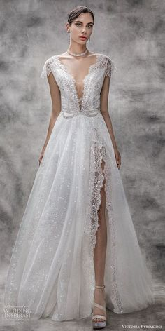 Oh me oh my Victoria KyriaKides 2020 Collection is looking gorgeous with ethereal yet glam rock looks with an Old Hollywood feel. These luminious and sparkling wedding dresses are a must-see! Mermaid Dresses, Bridal Dresses, Wedding Gowns, Wedding Dress Gallery, Unconventional Wedding Dress, Gorgeous Wedding Dress, Beautiful Bride, Spring Dresses, Bridal Collection
