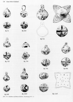 """Bells from Birka. These were mostly found in children's graves. The author suggests that these were probably not part of the clothing, but rather served as parts of pacifying toys (""""Kinderklapper"""") or as amulets, with perhaps an additional function of allowing parents to hear where the child was. (Article on """"Schellen"""" by Anne Sofie Gräslund, from Birka II, part I, ed. Greta Arwidsson)"""