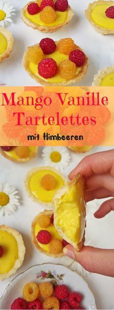 Mango Vanille Curd Tartelettes mit frischen Himbeeren - ein sommerlicher Dessert Traum für die nächste Garten Party, den Mädelsabend oder zum Brunch