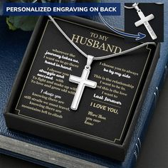Gift for Husband, Gift for Boyfriend, To My Man, Gift for Man, Man Cross Necklace, Husband Necklace, Gift Set for Husband, Father's Day Gift - Standard Box