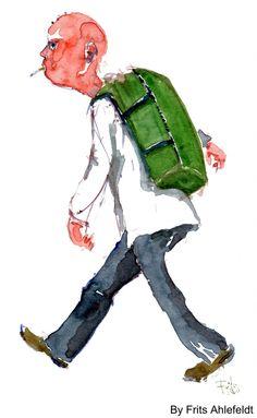 Watercolor. Bald guy walking. By Frits Ahlefeldt
