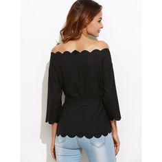 b040e8aacbaeae Off Shoulder Top Korean Shirt Womens Clothing Korean Fashion Clothing Black  Belted Off The Shoulder Scallop Blouse