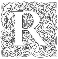Kleurplaat Mendhika Letter R_image Alphabet Coloring Pages, Coloring Book Pages, Printable Coloring Pages, Doodle Lettering, Hand Lettering, Schrift Design, Embroidery Alphabet, Alphabet Design, Illuminated Letters