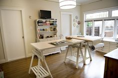 Great natural light and open floor plan for a studio.  Love the built in drawers and the height of the working tables are great!
