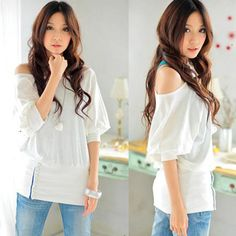 Sexy Batwing One Shoulder Boat Neck Band Tops Loose Boho Tee Eve Club Blouses B[White,Asian M]