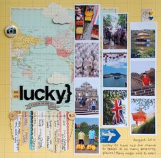 1 page, 10 photos +/- scrapbook layout travel Travel Scrapbook Pages, Vacation Scrapbook, Scrapbook Page Layouts, Scrapbook Paper Crafts, Scrapbook Cards, Scrapbook Photos, Travel Album, Travel Books, Travel Journals