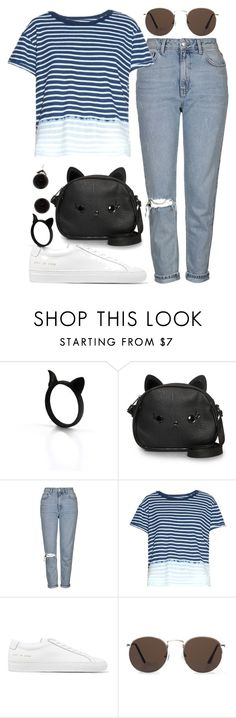 """""""Tests are over!"""" by joslynaurora ❤ liked on Polyvore featuring Loungefly, Topshop, Current/Elliott, Common Projects, MANGO, jeans and sneakers"""