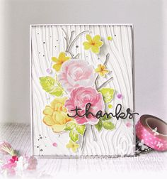 Have used the gorgeous Altenew Vintage Flowers and Simon Says Stamp Thank you die. The background embossing is done with a woodgrain embossing folder from Darice.