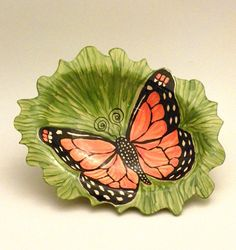 Ceramic Serving Dish Monarch Butterfly on Green by JudyBFreeman, $41.00