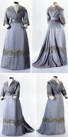 Day dress, Latvian, ca. 1905. Silk taffeta.Two pieces, gray-blue. Swiss National Museum