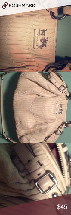 Authentic coach purse. Purse inside has stains, but the outside is good. Sturdy and made well. Coach Bags Satchels