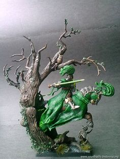 Green Knight, emerging from his hidden place. Warhammer Figures, Warhammer 40k Miniatures, Warhammer Fantasy, Fantasy Battle, Fantasy Rpg, Dungeons And Dragons Figurines, Lego Knights, Green Knight, Armadura Medieval