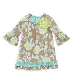 Gray Aqua Lime Flower Ruffle Dress