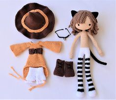 Note: This listing is for a crochet pattern only - it is not the finished doll! This pattern is available only in English for now. Jinx the Cat is crocheted from the bottom of her feet to the top of her head as one piece, even the arms are joined to the body. Her clothes are