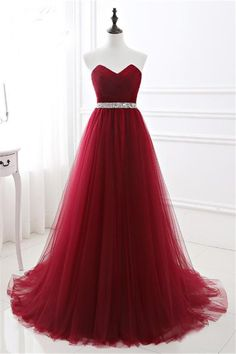 Beautiful A Line Strapless Long Burgundy Tulle Prom Dress With Beading Sash