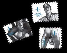 Postin verkkokauppa 1. lk:n postimerkit Tom of Finland - kolme (3) merkkiä, toimitus 8.9. alkaen