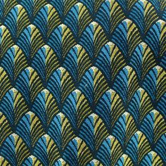 Tissu jacquard tissé Gatsby - canard/or x 10cm