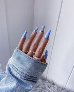 Classy Acrylic Nails, Blue Acrylic Nails, Acrylic Nails Coffin Short, French Tip Acrylic Nails, Blue Nail, Grunge Nails, Swag Nails, Edgy Nails, Bling Nails