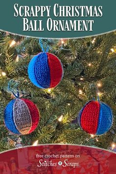 Did you ever make Christmas ornaments by gluing wedges of scrap fabric to a foam ball? This Scrappy Crochet Christmas Ball Ornament is the same idea, but in crochet! Use up scraps or mini-skeins and add a touch of nostalgia to your tree. #crochet #stitchesnscraps #Ornament #scrappy #ball #LionBrand #Bonbons #Christmas Crochet Christmas Decorations, Crochet Christmas Ornaments, Christmas Decorations For The Home, Ball Ornaments, Christmas Love, Christmas Balls, Christmas Projects, Christmas Ideas, Holiday Crochet Patterns