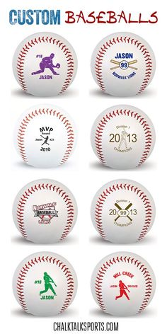 We have custom baseballs for every occasion!  Choose your favorite design and personalize as a special gift to your favorite baseball player!  Only from ChalkTalkSPORTS.com!