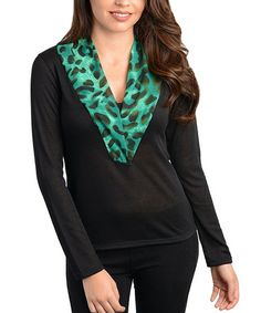Take a look at this Black & Aqua Leopard-Trim Top by 24|7 Frenzy on #zulily today!
